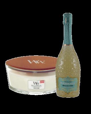 Cadeauset Woodwick & Wine - Bianco Medium