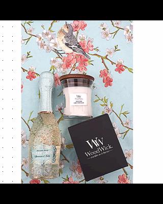 Cadeauset Woodwick & Wine - Bianco Small